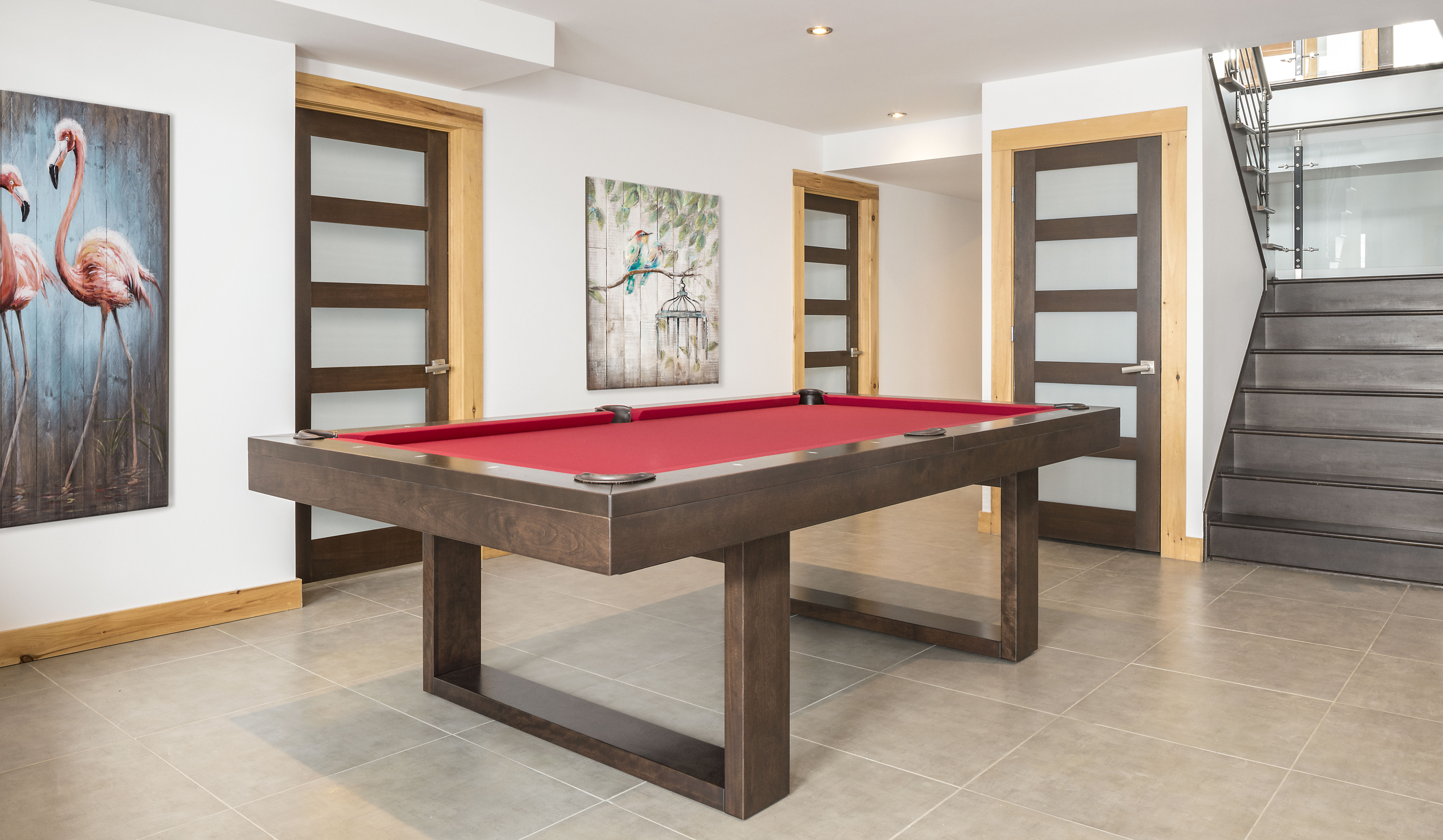 Red and Wood Pool Table